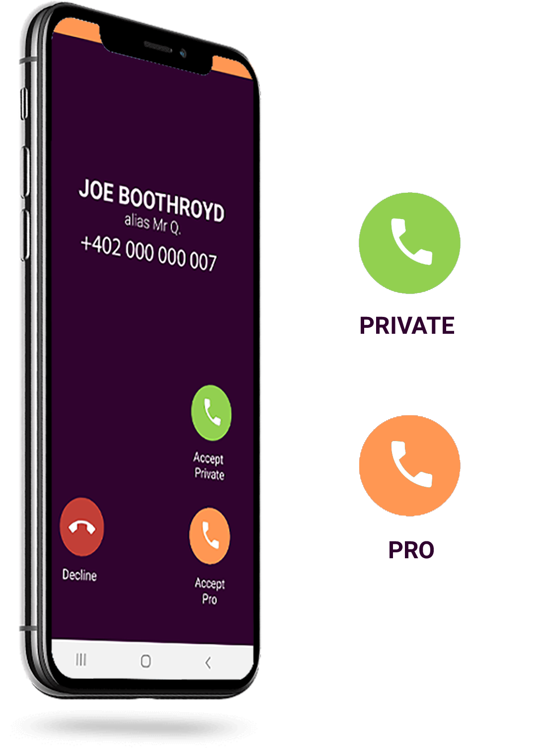 Take private and professional calls, only professional calls are pushed to the business app